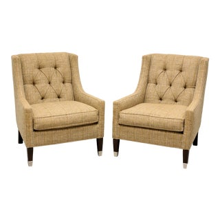 """Vanguard """"Flynn"""" by Michael Weiss Tufted Club Chairs - Pair For Sale"""