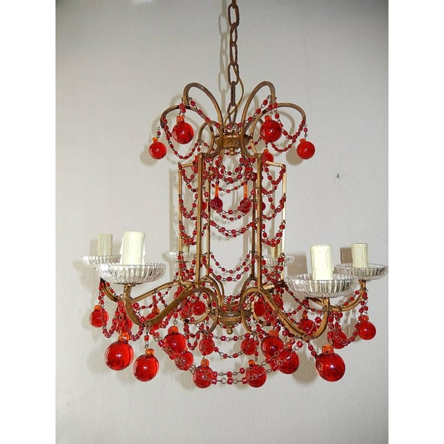 1940s French Red Murano Ball and Chains Chandelier, circa 1940 For Sale - Image 5 of 11
