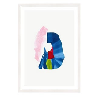Framed in White 'Color Study 5' Watercolor Print on Textured Paper by Encarnacion Portal Rubio For Sale