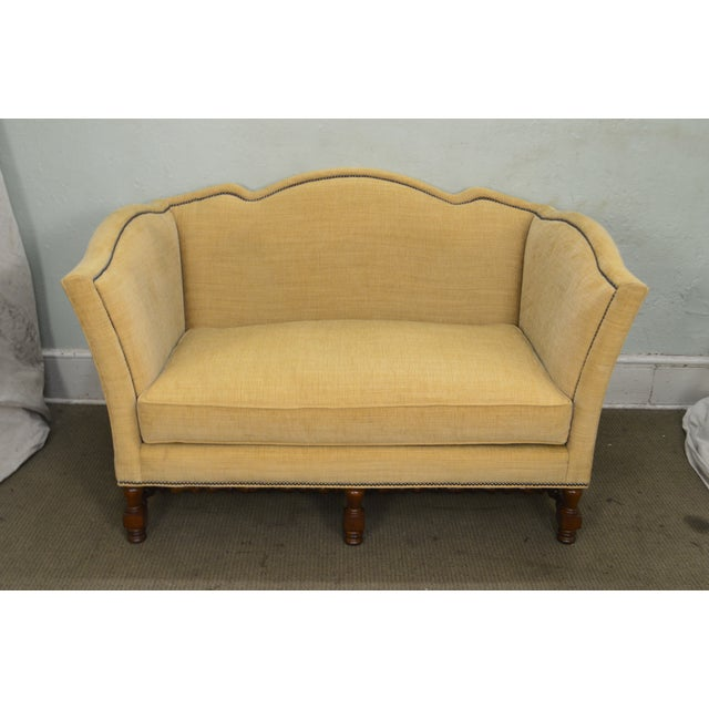 Yellow Wesley Hall William & Mary Style Custom Loveseat For Sale - Image 8 of 13