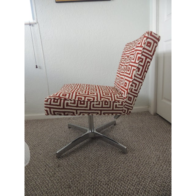 Mid-Century Modern Mitchell Gold + Bob Williams Red and Natural Accent Chair For Sale - Image 3 of 7
