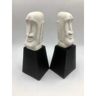 Vintage Aztec Black and White Bookends - a Pair Preview