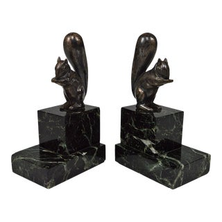 1930 Art Deco Squirrels Bookends - a Pair For Sale