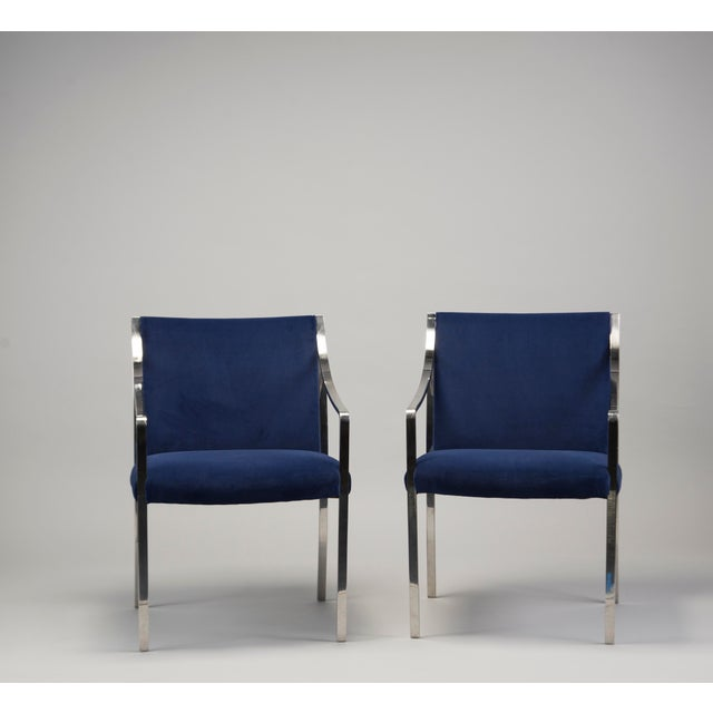 Stow & Davis Pair Bert England for Stow Davis Steel Frame Arm Chairs For Sale - Image 4 of 8