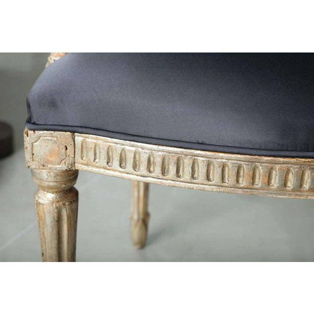 Silver Rare Set of Four Italian Neoclassic Silver Gilt Armchairs For Sale - Image 8 of 8