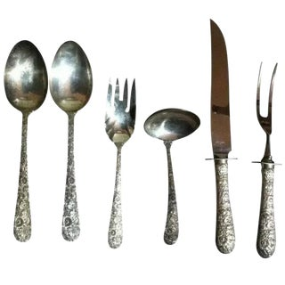 1932 Bridal Bouquet Alvin Sterling Silver Repouse Flatware - Set of 6 For Sale
