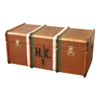 Antique British Bent Wood Steamer Trunk Coffee Table C.1920 For Sale