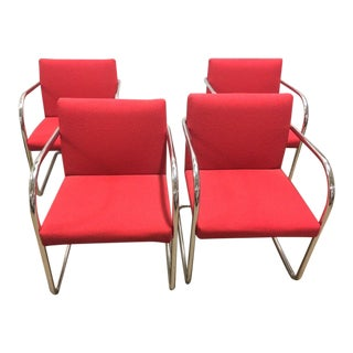 Thonet Chrome Cantilever Red Chairs - Set of 4