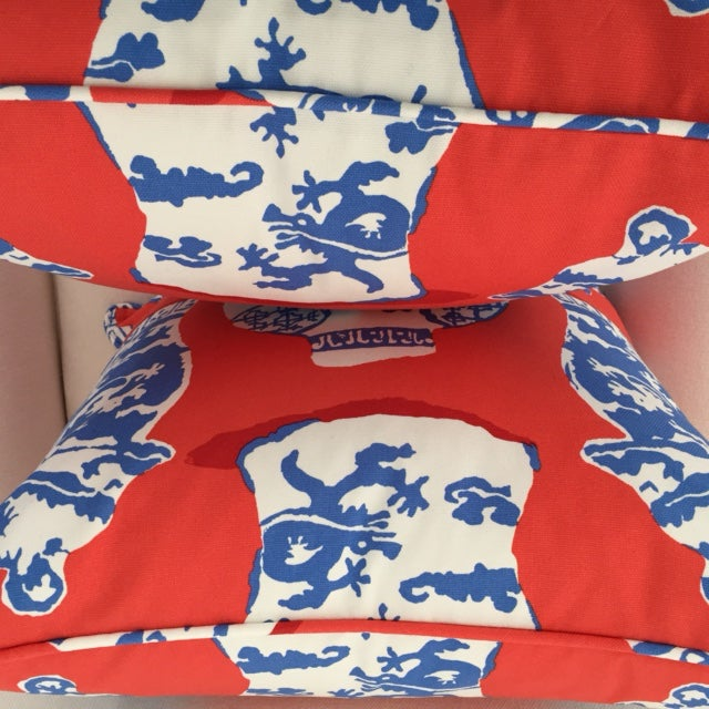 Dana Gibson Persimmon Red, White & Blue Pillows- A Pair - Image 7 of 7
