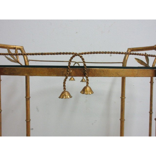 Gold French Regency Faux Bamboo Tea Cart For Sale - Image 8 of 10
