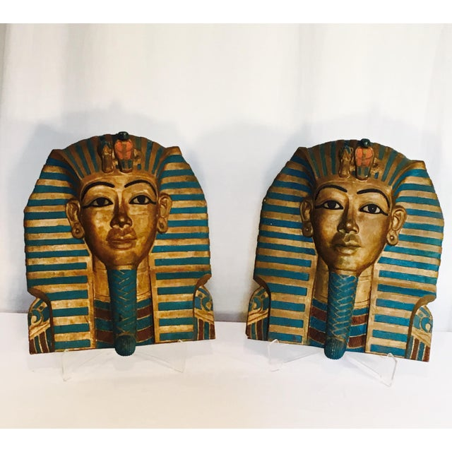 King Tut Plaques on Lucite Stands - A Pair - Image 6 of 6