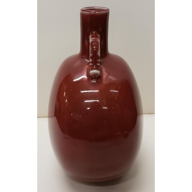 1970s Vintage Circa 1970 Chinese Style Ox Blood Porcelain Moon Flask Vase Made for Gump's in Japan For Sale - Image 5 of 7