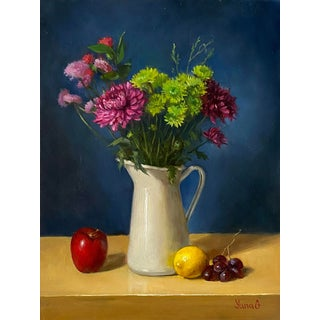 Still Life With Flowers and Fruits Oil Painting on Board For Sale