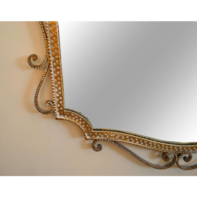 Metal Art Deco Style Italian Gilt Wrought Iron Wall Mirror by Pier Luigi Colli For Sale - Image 7 of 12