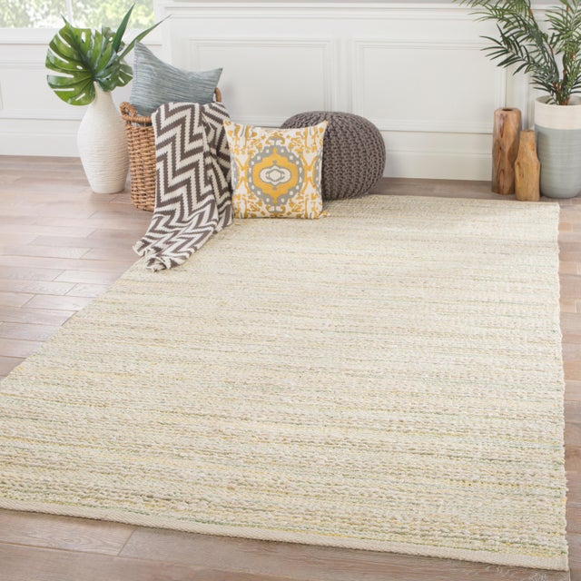 "2010s Jaipur Living Canterbury Natural Stripe White & Green Area Rug - 2'6"" X 4' For Sale - Image 5 of 6"