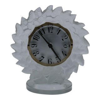 1930s Rene Lalique Frosted Glass Roitelets Clock For Sale