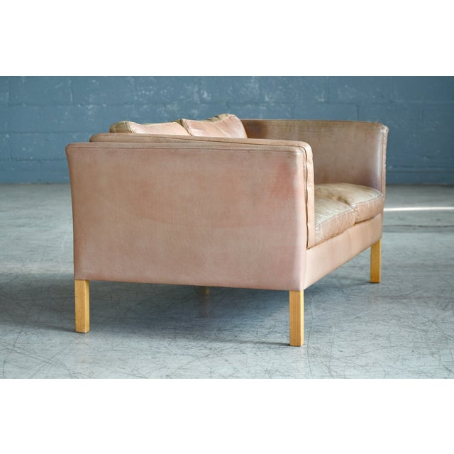 Danish Loveseat in Butterscotch Worn Leather by Stouby Mobler For Sale In New York - Image 6 of 12