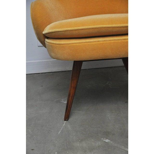 Yellow Vladimir Kagan Walnut Frame Lounge Armchair For Sale - Image 8 of 11