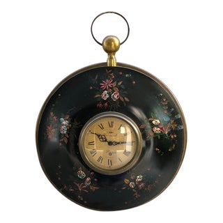 Antique Verneuil Tole Painted Wall Clock For Sale