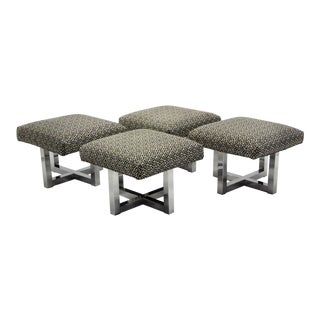 Pair 1960s Polished Aluminum Upholstered Stools Benches in the Style of Milo Baughman (2 Pairs Avail.)