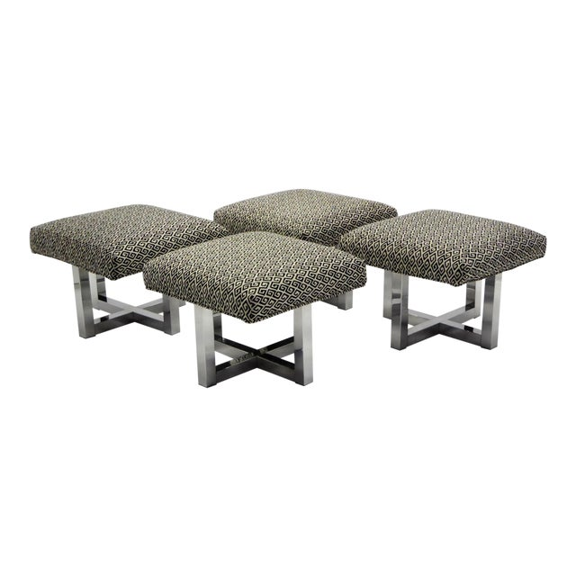 Pair of 1960s Polished Aluminum Upholstered Stools Benches( Two Pairs Available) For Sale
