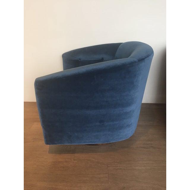 Navy Tufted Velvet Swivel Barrel Chairs A Pair Chairish