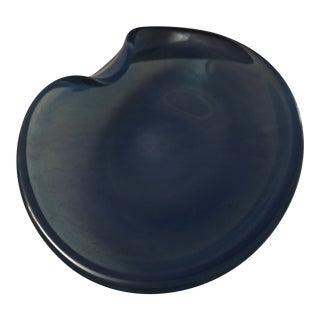 Mid-Century Alfred Barbini Blue Murano Glass Serving Platter