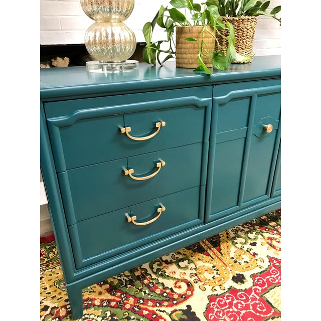 1960s 1960s Hollywood Regency Drexel Teal Jewel Tone Buffet For Sale - Image 5 of 8
