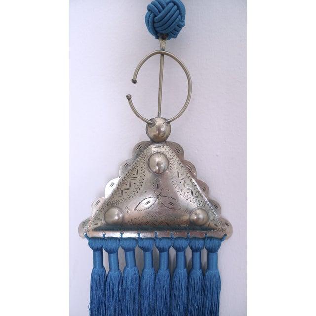 Moroccan Blue Silk & Brass Tassel Ornament - Image 4 of 8