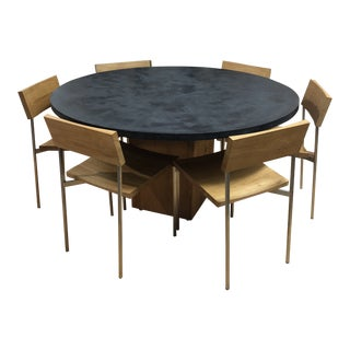 Concrete Wood & Stainless Steel Dining Set For Sale