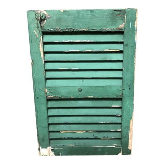 Vintage Cottage Chic Shabby Green Wood Shutter
