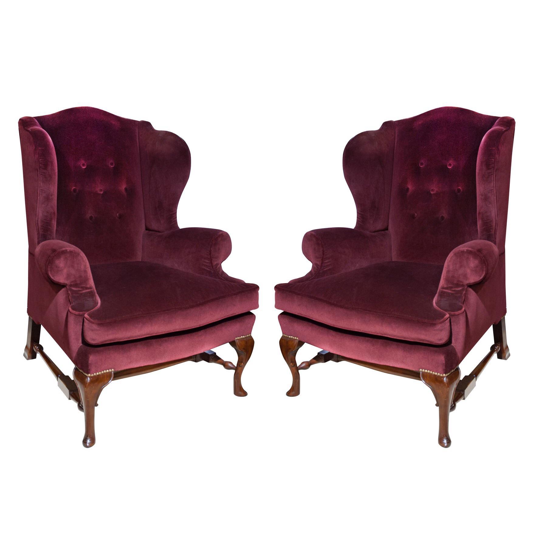 Burgundy Velvet Circa 1940u0027s English Wingback Chairs   A Pair   Image 6 ...