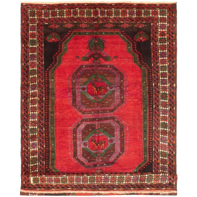 Hand-Knotted Turkish Red Rug For Sale - Image 9 of 9