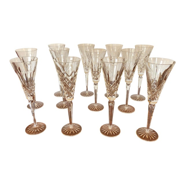 Waterford Crystal 12 Days of Christmas Champagne Flutes- 12 Pieces For Sale