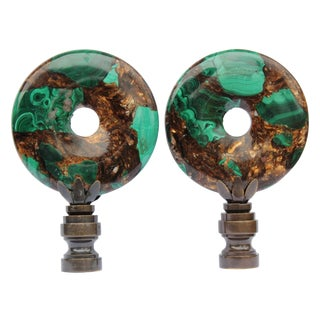 Malachite and Bronzite Lamp Finials - A Pair