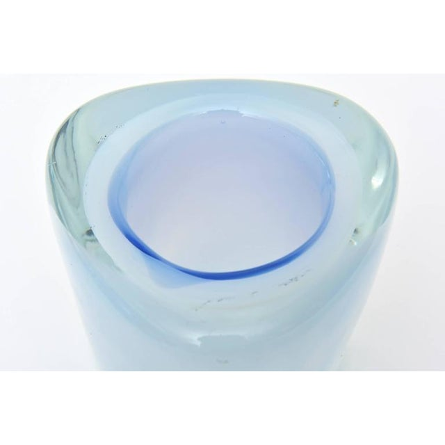 Blue Italian Murano Opalescent Sommerso Glass Vessel/Small Vase For Sale - Image 8 of 10