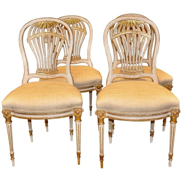 Louis XVI Set of Four Louis XVI Style Painted Chairs, Balloon Montgolfier For Sale - Image 3 of 3