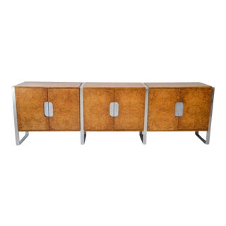 American Modern Burl Walnut and Brushed Chrome Sideboard/Buffet, Pace Collection