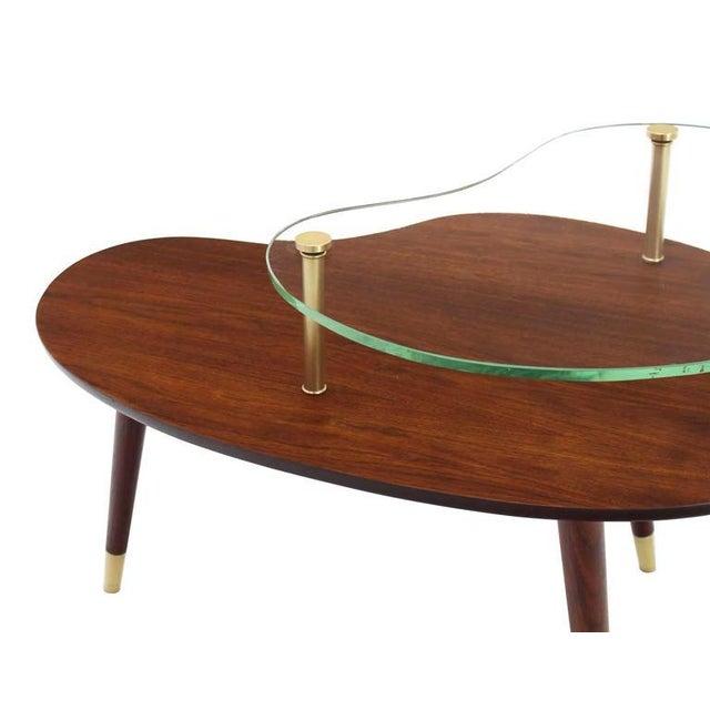 Mid-Century Modern Vintage Mid Century Walnut Glass & Brass Organic Shape Side Table For Sale - Image 3 of 10