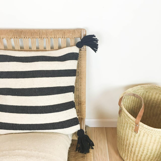 Boho Chic Mexican Black & White Stripe Wool Throw Pillow For Sale - Image 3 of 4
