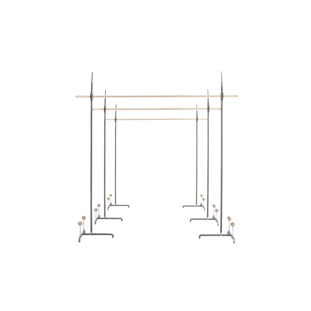 Hollywood Regency Bespoke Clothing Rack in Wrought Iron and Brass For Sale