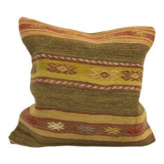 Stripe Design Turkish Handmade Kilim Pillow Cover For Sale