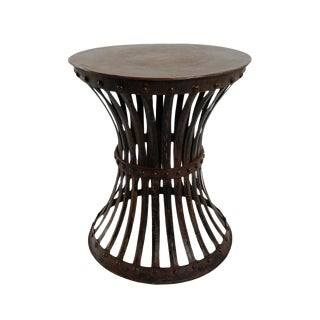 Iron Hourglass Rivet Stool Table For Sale