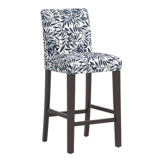 Bar stool in Voysey Vine Blue For Sale
