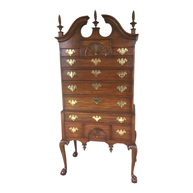 Henkel Harris Solid Mahogany Chippendale Style Ball & Claw Highboy For Sale