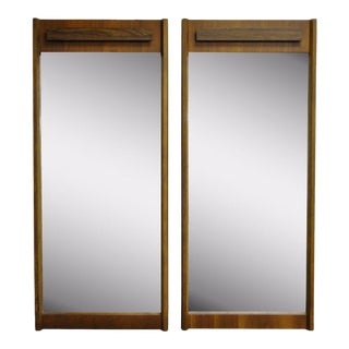 Pair Vintage Mid Century Modern Bassett Rosewood Walnut Wall Mirrors Danish Style For Sale