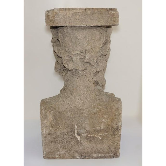 Late 19th Century Cast Stone Pedestals With Figural Bust and Foliate Design - a Pair For Sale In New York - Image 6 of 11