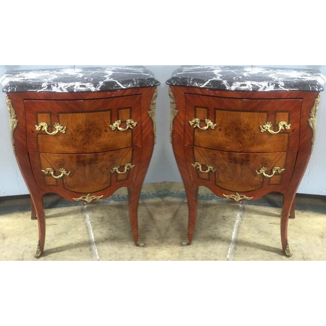 Antique Inlaid Marble Top Side Tables - Pair - Image 2 of 2