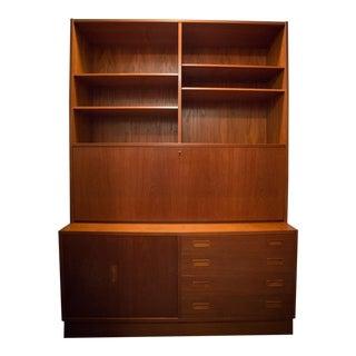 1970s Scandinavian Teak Drop-Down Desk With Storage For Sale