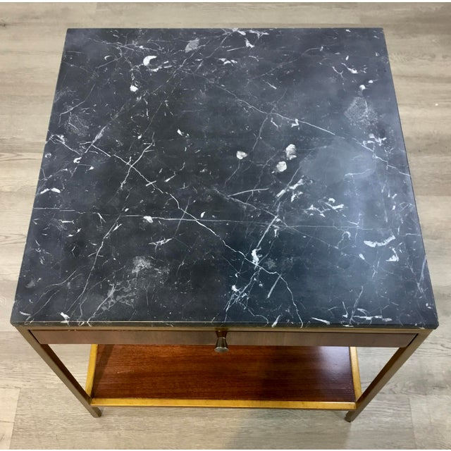 Mid-Century Modern Style Black Marble and Walnut Finished Wood Copeland End Table For Sale In Atlanta - Image 6 of 7